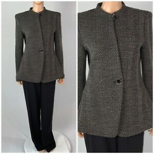 Armani Collezioni Pant Suit Herringbone Blazer Straight Leg Pants Brown 12/14