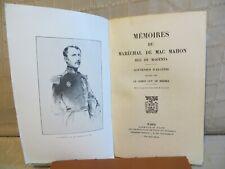 mémoires du maréchal de Mac Mahon souvenirs d'Algérie  le comte de Miribel