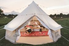 AU Warehouse of Large Heavy Duty 5M Beige Canvas Glamping Bell Tent For Camping