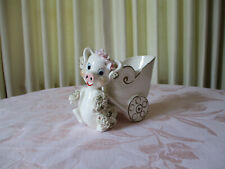 Vintage Collectible Spaghetti Pig With Cart Planter -Made In Japan - Pink Roses