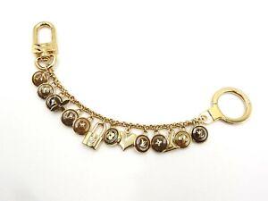 LOUIS VUITTON Porte Cles Chaine Pastilles Key Holder Brass Marron M65911 V-5542