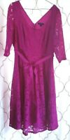 Lane Bryant Fuchsia Size 18 Dress Lace Party Cocktail Fit & Flare 3/4 Sleeve V-N