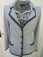 BODEN Grey Blazer Cardigan UK 12 Cotton CASHMERE Angora Blend Knitted Pockets
