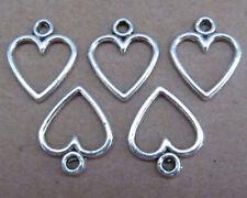 PJ45 50pc 11.5*14mm Tibetan Silver Dangle Charm Love Heart Beads Wholesale