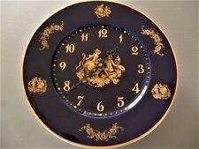 PORCELAINE DE LIMOGES BLEU DE FOUR CASTEL ASSIETTE HORLOGE PENDULE CLOCK