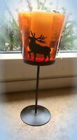 """kerzenhalter vase windlicht dekoglas schwarzes metall oranges glas """"elche"""" 28cm"""
