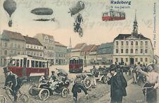Radeberg in der Zukunft Sachsen Zimmermann Bahnpost Dresden 1907 Stempel Marke