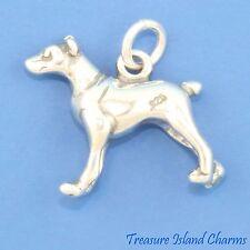 Doberman Pinscher Dobie Dog Breed 3D .925 Solid Sterling Silver Charm Dobermann