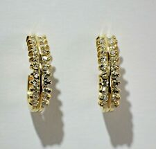 14 Karat Round  Diamond  J  Hoop Earrings  Yellow Gold