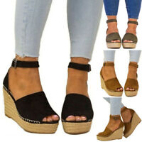 New Womens Ladies High Heel Wedge Espadrilles Summer Sandals Casual Holiday Size