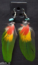 PIERCING / BOUCLES D'OREILLES - VERT / PLUMES / TURQUOISE / FEATHERS / EARRINGS