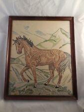"Vintage Framed Horse Embroidery Needlepoint Finished 15"" x 18"""
