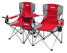 GigaTent Red Steel Folding Side by Side Double Camping Chair Mesh Pocket Storage