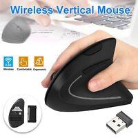 Ergonomic Mouse Optical Vertical Mice 6 Keys USB Wireless 2.4GHz 1200DPI For PC