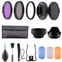 49MM Accessory Kit UV CPL FLD Filter Lens Hood Lens Cap for Canon Nikon