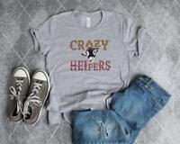 Crazy Heifers Bella Canvas Heifer T-Shirt Leopard Serape Cow Humor Tee