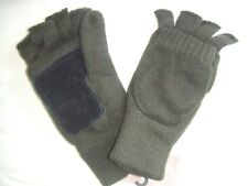 KNITTED GREEN LINED THINSULATE THERMAL INSULATED FLIP CAP SKI MITTENS MITTS