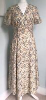 LAURA ASHLEY Vtg 90s Ivory Floral Silk Midi Dress UK 8 10 Flared Wedding Party