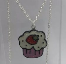 Pale Pink Glitter strawberry Cupcake Pendant Necklace I200 3 Cm  Kawaii