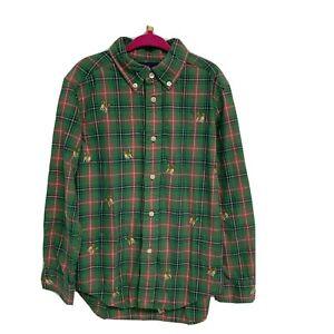Ralph Lauren Green Plaid Dogs Button Up Shirt Boy's 6 (A-2E)