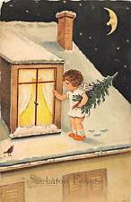 B76302  Romania Happy Winter Holidays Angel at the window and moon smiles