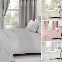 Bedding Heaven Embroidered Everdean Duvet Covers. Pink White, Cream, Silver Grey
