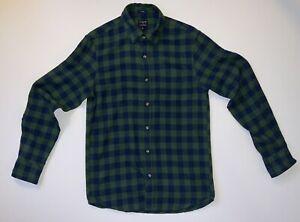 J Crew Factory Flannel Slim Navy Blue Green Plaid Long Sleeve Shirt Size Small