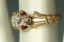 VICTORIAN DIAMOND Ring Old EURO CUT 14K GOLD Sz 5 HAND Theme Includes APPRAISAL
