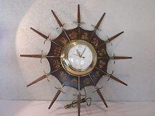 United Electric Wall Clock Mid Century Modern Star Burst Zodiac Clock