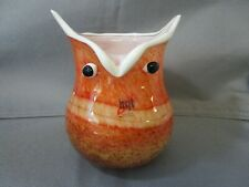 """HQT  Hand Made Art Glass Owl Orange White  Confetti Vase 6"""" with tag"""