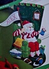 "Bucilla ""ULTIMATE FAN FOOTBALL SANTA"" Felt Christmas Stocking Kit OOP 18"" NEW FD"