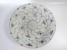 Chinese Dehua Blue White Lotus Porcelain Plate Daoguang Period Nagel Sticker