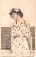 c.1903 sgd. Kirshner Art Nouveau Girl overlooking Water post card as is