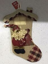 Jute 3D Santa Applique Christmas Stocking /Brand New
