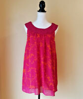 CAbi Womens Top Tunic Sleeveless Origami Orange Pink Semi Sheer Size Medium