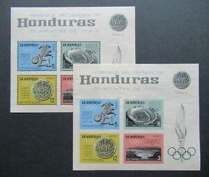 1964 VF MNH PERF. AND IMPERF. SHEET HONDURAS OLYMPIC GAMES B423.46 START $0.99
