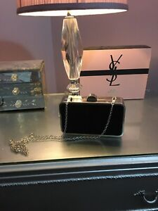 Black Velvet Evening Clutch Bag With Chain Strap