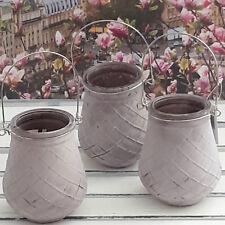 3er Set Kerzenhalter Windlicht Windlichter Teelichter Glas  Rautedesign