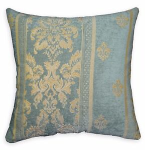 We201a Gray Blue Damask Flower Chenille Throw Pillow Case Cushion Cover*Size