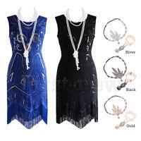 1920s Charleston Gown Prom Flapper 20's Gatsby Dress Fringe Beads Sequin Dresses