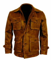 Men's Leather Jacket Brown Vintage Distressed Biker 3/4 Coat Aviator