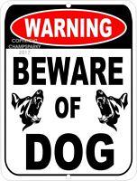 "Beware Of Dog WARNING NO Trespassing Security Aluminum Sign 9"" x 12"""