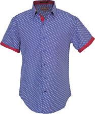 St Patrick Mens Big and Tall Short Sleeve Blue Red Microfiber Shirt 6XL XXXXXXL