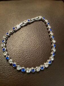 Avon Costume Silver Tone Blue & Clear Rhinestone Tennis Bracelet🤩❤️