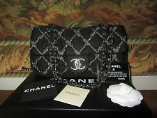 Chanel Tweed stitch Bubble Quilted Nylon Black Flap Bag  Limited Edition