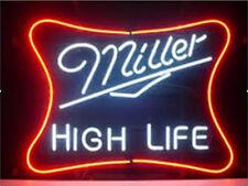"New Miller Lite High Life Neon Light Sign 20""x16"" Man Cave Real Glass Bar"