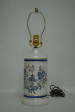 Beautiful blue and white porcelain table lamp with inlaid design