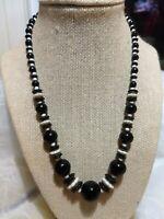 Vtg Antique Art Deco Black White Graduated Flower Shaped + Round Bead Necklace