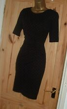 Stretchy black red polka dot vintage 40s 50s pencil wiggle wrap dress size 16 18