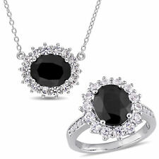 Amour Sterling Silver Black Sapphire and Created White Sapphire Set